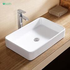 White Rectangle Sink Bowl Vessel Basin w/Pop Up Drain Porcelain Ceramic Bathroom