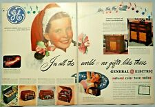 1946 Two Page GENERAL ELECTRIC Radio & Television Ad W/ Margaret O'Brian