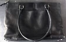 WOMENS Genuine Black Leather Work Tote Shoulder Bag w/ Laptop Comprtmnt COLUMBIA
