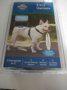"""3-in-1 Harness with Control Leash Black SMALL -Girth Adjusts from 19""""- 24"""" NEW"""
