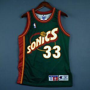 100% Authentic Patrick Ewing Vintage Champion Sonics Jersey Size 40 M - pro cut