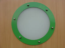 PORTHOLE FOR DOORS STAINLESS STEEL GREEN phi 323 mm flat