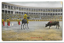Portugal Suerte De Vara Bullfighting PPC 1910 PMK to Sgt Barnes, 6th Dragoons