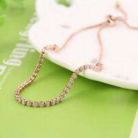 Women's Rhinestone Shiny Cubic Zirconia Adjustable Bracelet Bangle Chain Jewelry