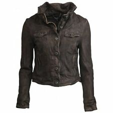 Muubaa Arum Denim Style Suede Jacket in Teak Brown. RRP £309. UK 6.