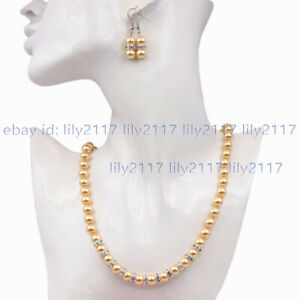 Fashion 8/10/12mm Multi-Color Shell Pearl Round Beads Necklace Earrings Set 18''