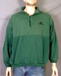 vintage 90s NEW BALANCE Faded Worn Spell Out Logo 1/4 Zip Sweatshirt Jacket XL