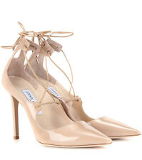 Jimmy Choo Vita 100 Nude Patent Leather Pump Pointy Toe Lace up Shoe 40 -9