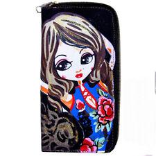 porte feuille monnaie femme manga robe chinoise bleu fleur rouge paillettes doré