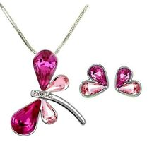 Lovely Dragonfly Pendant Necklace and Earrings Set Pink and Rose Crystal  Wings