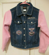 Harley Davidson Girls Denim Jean Jacket w/ Pink Fabric Sleeves Size 10 12