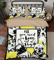 3D Cute Dogs 130 Bed Pillowcases Quilt Duvet Cover Set Single Queen King Size AU