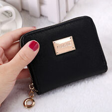 Women Leather Small Wallet Card Holder Zip Coin Purse Clutch Handbag Black