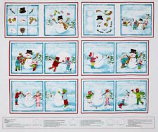 "35"" Henry Glass Fabric Book Panel ~ Frosty Flakes ~ Snowman Christmas Holiday"