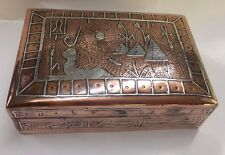 SILVER COPPER MIXED METALS EGYPTIAN ANKH PYRAMID SPHINX HUMIDOR BOX