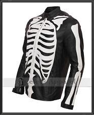 Mens Fashion Biker Skeleton Bones Leather Jacket Halloween Costume