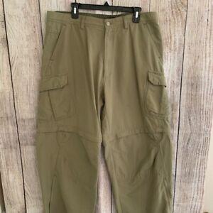 Rei Mens Convertible Cargo Pants Khaki Tan Flap Pockets Flat Front Size 38 x 32