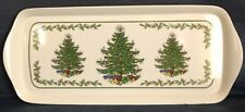 "14.5"" x 6"" PLASTIC SERVING TRAY ~ 3 Christmas Trees (Similar to Spode Design)"