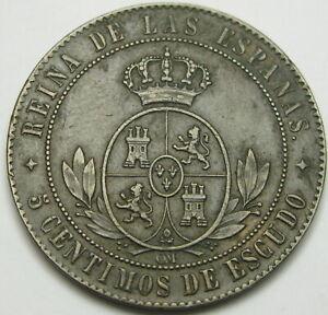 SPAIN 5 Centimos de Escudo 1867 OM - Bronze - Isabel II - XF- 1222 ¤
