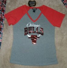 NEW NBA Chicago Bulls Basketball Raglan Women Ladies T Shirt M Medium NEW NWT