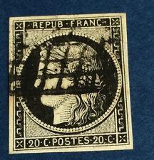 France ° 3a 20 C Noir Sur Blanc Obli TB Qualité Cote 65€