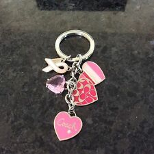 COACH Heart Pink Ribbon Multi Mix Cancer Awareness Key Ring Fob Purse Charm NEW