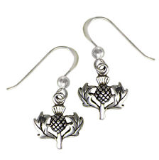 Solid Sterling Silver Small Scottish Thistle Earrings Scotland Heritage Jewelry