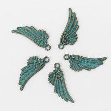 10 x Verdigris Patina Angel Wing Charms Pendants Beads 29x11mm