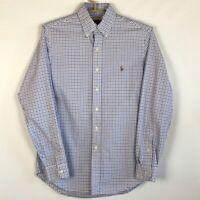 Ralph Lauren Mens Oxford Shirt Blue Label Gingham Long Sleeve 100% Cotton S