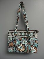 VERA BRADLEY Green Brown Java Blue Villager Cotton Shoulder Bag Purse Sz M B3615