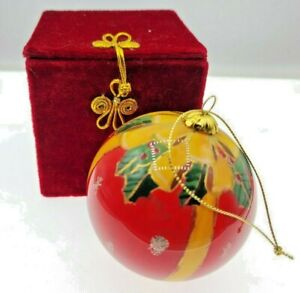 rare Vintage Christmas Fanny Farmer Ornament ball with Box - hand painted glass