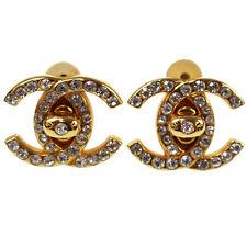 Chanel cc Chiusura Girevole Orecchini Oro Strass 96 a Francia Vintage Autentico