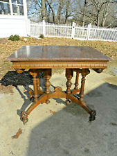 Antique Eastlake Parlor Table w/ Granite Top, Lion Paw Feet, Very Detailed!