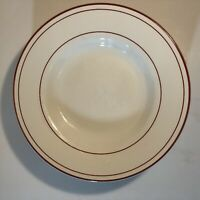 "4 pcs Pottery Barn Bistro Dinner Plates White With Red Rim 10"" Round Dinnerware"
