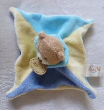 Babynat***Doudou plat  ours beige jaune et bleu TBE Security Blanket