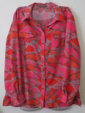 Notations L Button Down Top Long Roll Up Sleeves Stretch Red Pink Chain Link EUC