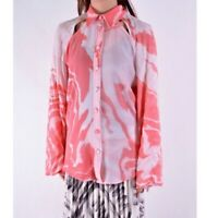 NWT Thebe Magugu Womens Pink White Zebra Mud Bell Sleeve Collared Blouse Size M
