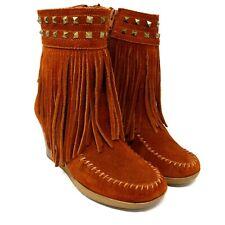 Minnetonka 84042 Womens Fringe Wedge Heel Studded Zip Up Bootie Moccasin Size 6
