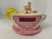 Hello Kitty Digital Alarm Clock / Pink Teacup Tea Cup Night Light Radio Kt2055