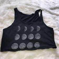 John Galt Brandy Melville Black Cropped Viscose Sleeveless Moon T-Shirt O/S