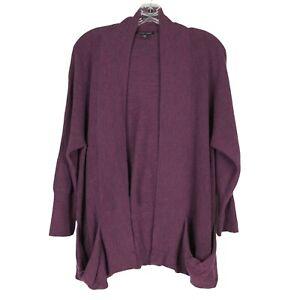 Eileen Fisher Cardigan Sweater womens M Merino Wool Purple Pockets Open Front