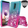 For LG K40,Solo LTE,K12 Plus Case, Glitter Liquid Gradient Bling +Tempered Glass