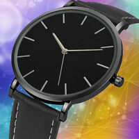 Luxury Men Classical Stainless Steel Watches Analog Leather Quartz Wrist Watch