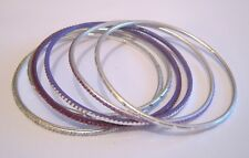 6x Lovely silver tone and purple bangle style bracelets approx 2½ ins wide