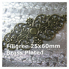 12 Filigree  60mm Brass Plated Finish Jewelry Beads Craft Supply
