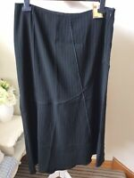 "BNWT M&S Black Pinstripe Maxi Skirt Size UK 16 Length 36"" NEW Business Office"