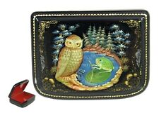 Palekh Russian Lacquer Box #3737 OWL with a FROG