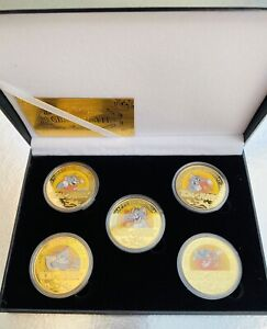 OFFICIAL TOM AND JERRY GOLD PLATED COMMEMORATIVE COIN SET 5 NEW COINS