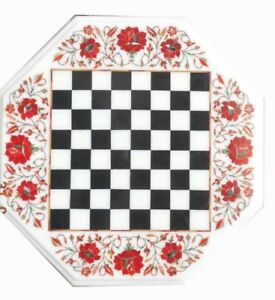 """18"""" white Marble Chess Table top semi precious stones floral inlay handmade"""