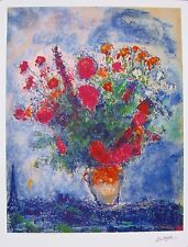 MARC CHAGALL Facsimile Signed Limited Edition Art Giclee BOUQUET OVER CITY PARIS